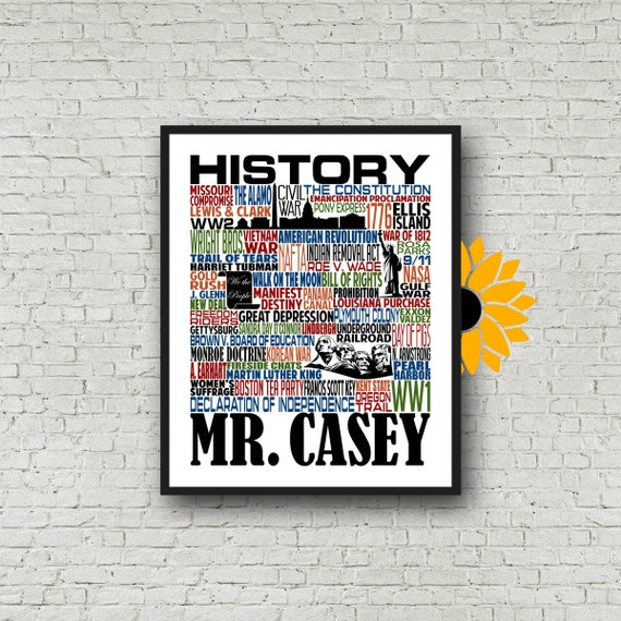 History Teacher Gift, U.S. History Typography, Personalized History Teacher Poster, Gift for History Teacher, American History Teacher Gift