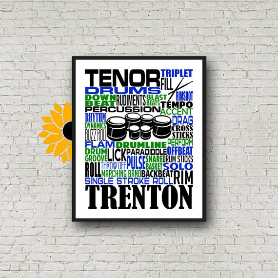 Personalized Tenor Drummer Poster, Tenor Drum Typography, Gift for Drummers, Percussion Art, Quint Drums Gift, Marching Band Gift