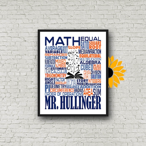 Personalized Math Teacher Poster, Math Typography, Math Teacher Gift, Gift for Math Teacher, Algebra Teacher, Calculus Teacher, Trigonometry