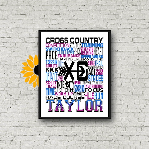 Cross Country Team, Personalized Cross Country Poster, Gift for Runners, Cross Country Typography, Marathon Gift, 26.2 13.1, Gift for Runner