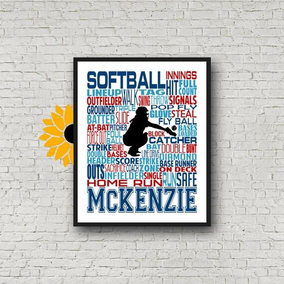 Softball Gift Ideas, Gift For Softball Players, Softball Wall Art, Softball Team Gift, Personalized Softball Poster Typography,