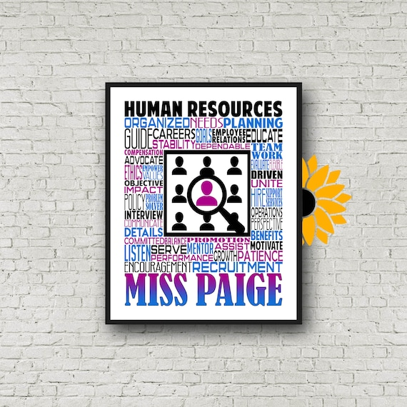 Gift for HR, Gift for Human Resources, Personalized Human Resources Poster, Human Resources Typography, HR Manager Gift, Recruiter Gift