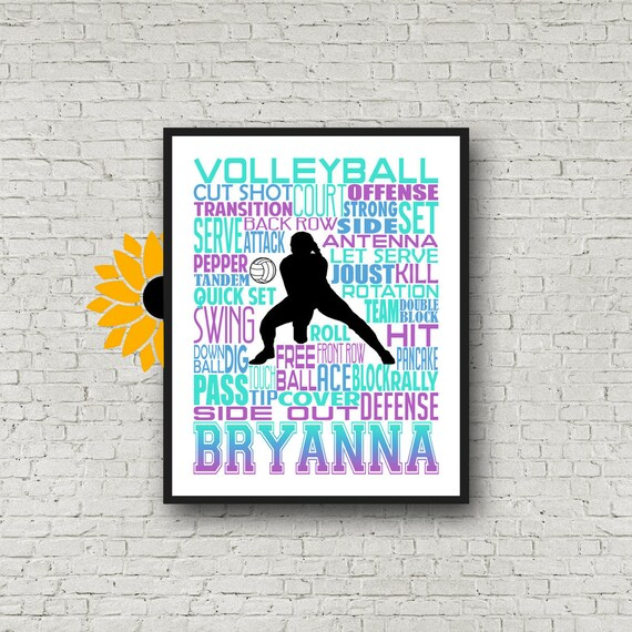 Volleyball Poster, Volleyball Typography, Volleyball Team Gift Volleyball Print, Volleyball Art, Gift for Volleyball Player
