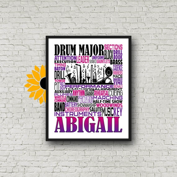 Gift for Drum Major, Drum Major Gift, Personalized Drum Major Poster, Drum Major Typography, Band Instructor, Conductor Gift, Marching Band