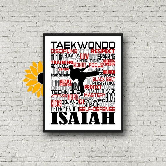 Personalized Taekwondo Poster, Taekwondo Typography, Taekwondo Gift, Gift for Taekwondo, Taekwondo Art, Taekwondo Print, Karate Team Gift