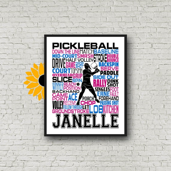 Pickleball Typography, Personalized Pickleball Poster, Gift For Pickleball Player, Pickleball Team Gift Ideas, Pickleball Gift Art