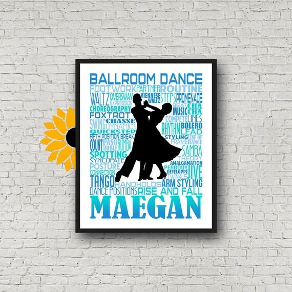 Personalized Ballroom Dance Poster, Gift for Ballroom Dancer, Dancing Print, Ballroom Dancer Typography,  Ballroom Dance Gift