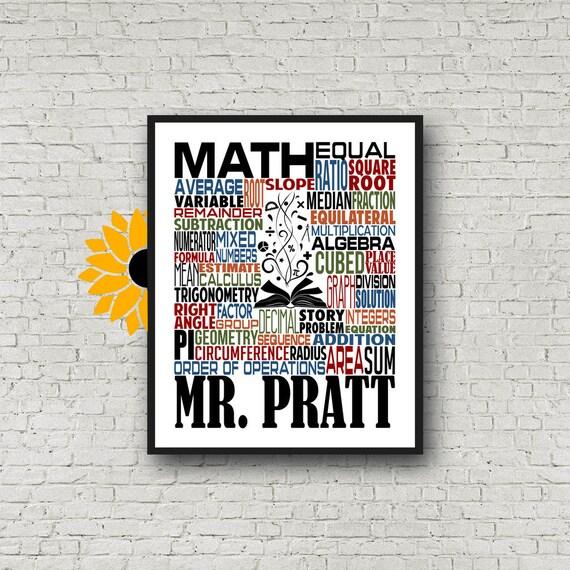 Personalized Math Teacher Poster, Math Typography, Math Teacher Gift, Gift for Math Teacher, Algebra Teacher, Calculus Teacher, Trigonometry
