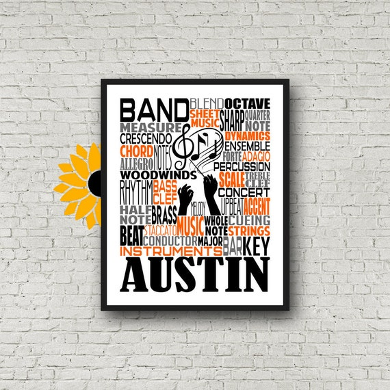 Personalized School Band Poster, Band Typography, Band Teacher Gift, Gift for Music Teacher, Band Instructor, Conductor Gift