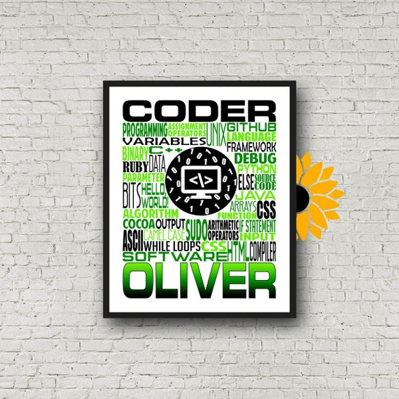 Computer Coding Typography, Personalized Computer Coding Poster, Gift for Computer Coder, Computer Programmer Gift, Coding Gift, Coder Gift