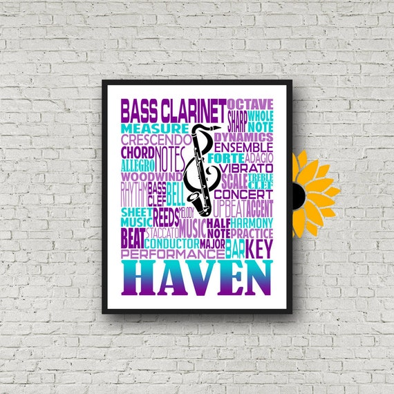 Bass Clarinet Typography, Personalized Bass Clarinet Poster, Bass Clarinet Player Gift, Bass Clarinet Gift, Band Gift, Marching Band