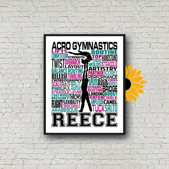 Personalized Acro Gymnastics Poster, Acrobatic Gymnastics Typography, Gymnast Gift, Gift for Acro Gymnast, AcroYoga Gift