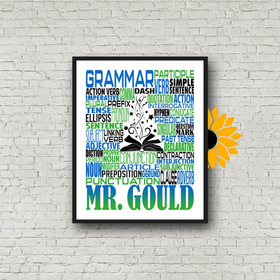 Grammar Typography, Personalized Grammar Teacher Poster, English Teacher Gift, Gift for Grammar Teacher, Literature Teacher Gift