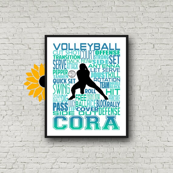 Volleyball Team Gift, Personalized Volleyball Poster, Volleyball Typography, Volleyball Print, Gift for Volleyball Player, Team Gift