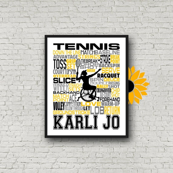 Wheelchair Tennis Poster, Wheelchair Tennis Player Gift, Personalized Wheelchair Tennis typography, Adaptive Sports Gift, Tennis Gift