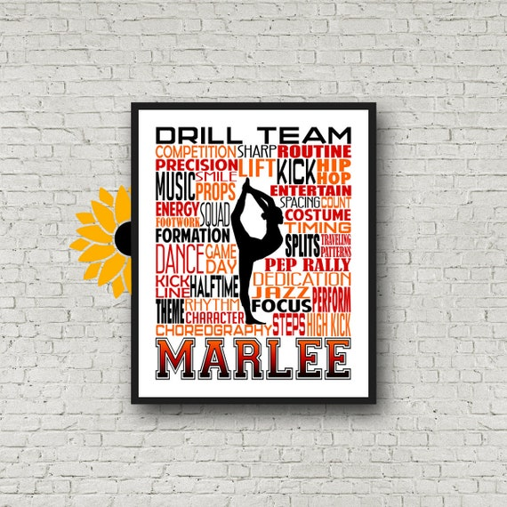 Personalized Drill Team Poster, Gift for Drill Team, Dancing Art, Dancing Print, Drill Team Typography,  Drill Team Gift, Custom Dancer