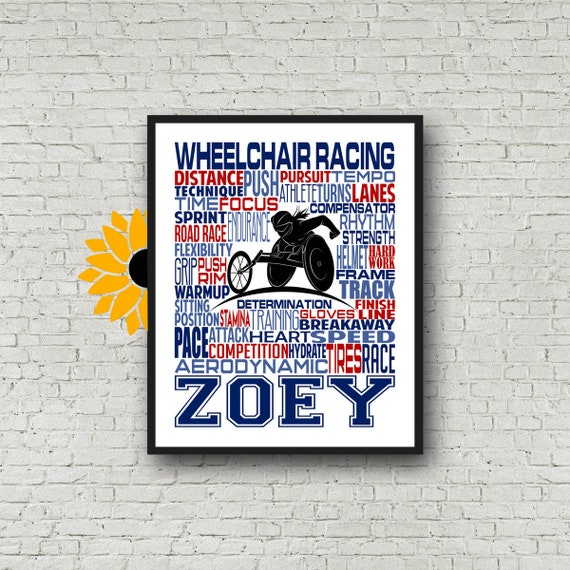 Para Athlete Gift, Personalized Wheelchair Racing Poster, Wheelchair Racing Typography, Para-Athlete Poster, Gift for Wheelchair Racer