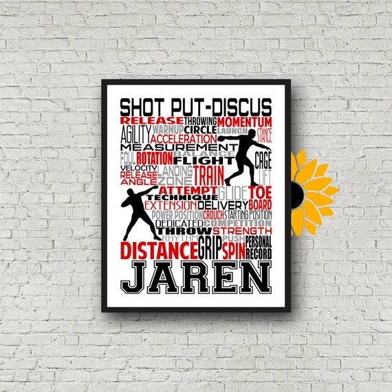 Shot Put and Discus Thrower, Personalized Shot Put Thrower Poster, Shotput Poster, Shot Put Typography, Track and Field Thrower
