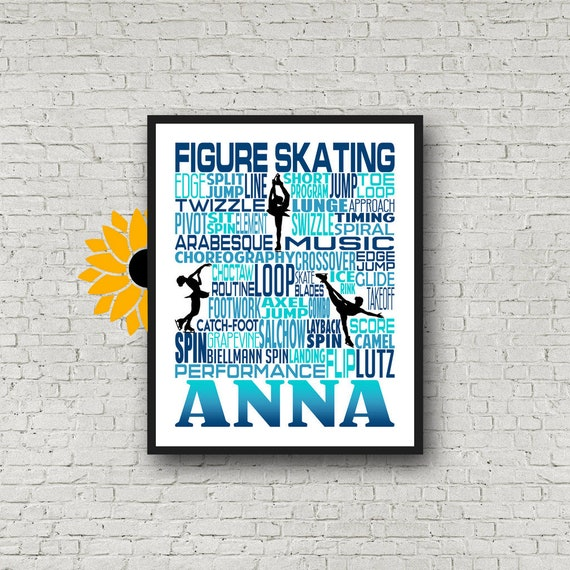 Personalized Figure Skating Poster, Ice Skating Typography, Figure Skater Gift, Ice Skater, Ice Skating, Gift for Ice Skater