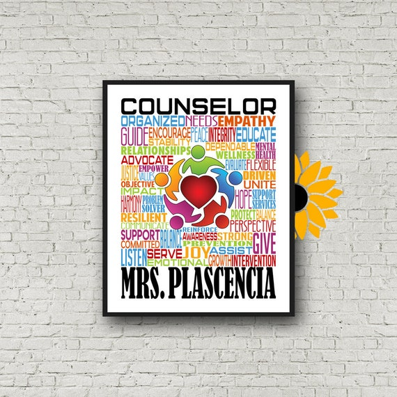 Gift for Family Counselor, Personalized Counselor Poster, Counselor Typography, Gift for Counselor, Counselor Poster, Counselor Typography