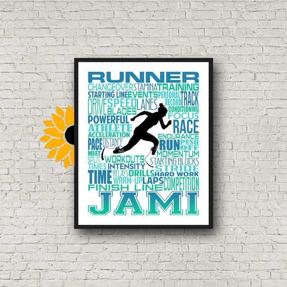 Para Athlete Runner Typography, Personalized Para-Athlete Runner Poster, Track and Field Poster, Gift for Runner