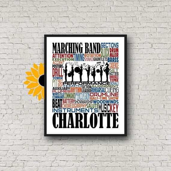 Marching Band Gift, Personalized Marching Band Poster, Marching Band Teacher Gift, Gift for Music Teacher, Band Instructor, Conductor Gift