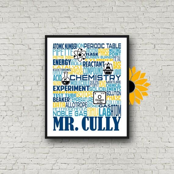 Gift for Science Teacher, Science Teacher Gift, Science Typography, Personalized Science Teacher Poster, Chemistry Teacher Gift