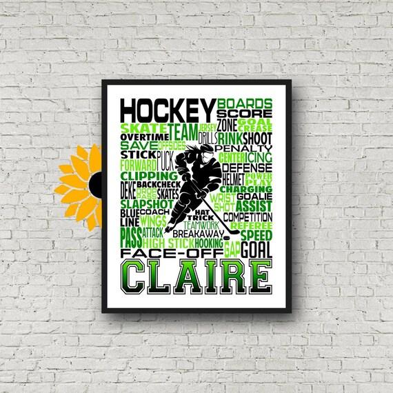 Hockey Team Gift, Personalized Ice Hockey Poster, Hockey Player Gift, Gift for Hockey, Hockey Typography Hockey Print, Hockey Wall Art