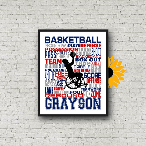 Wheelchair Basketball Player Gift, Personalized Wheelchair Basketball Poster, Wheelchair Basketball typography, Adaptive Sports gift