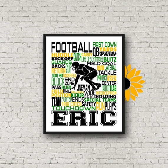 Football Typography, Football Personalized Print, Football Art, Football Team Gift, Coach Gift, Football Poster, Gift for Football Player