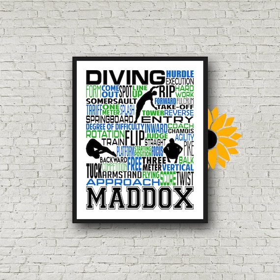 Personalized Swim Diving Poster, Diving Typography, Gift for Diver, Diving Team Gift, Swimming Team Gift, Swimmer Poster, Competitive Diving