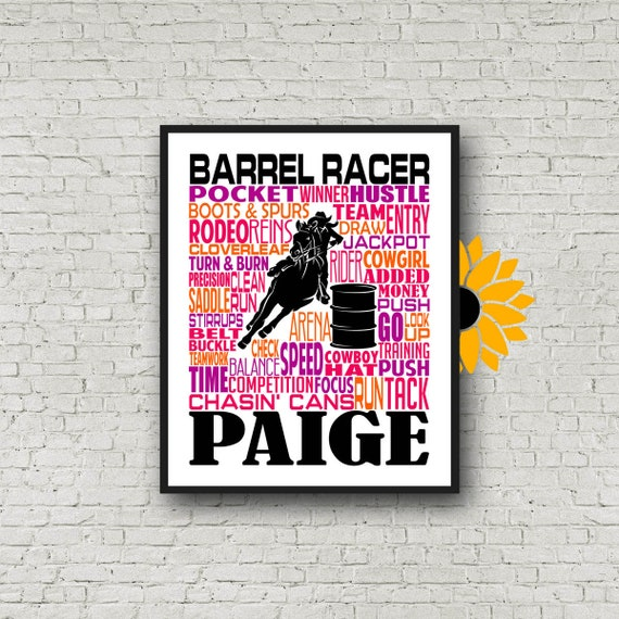Gift for Barrel Racer, Barrel Racing Typography, Personalized Barrel Racing Poster, Barrel Racing Print, Barrel Racer Poster, Pole Bending