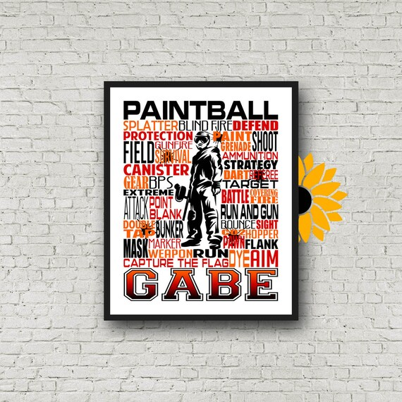 Paintball Typography, Personalized Paintball Poster, Paintball Themed Birthday, Paintball Print, Paintball Decor