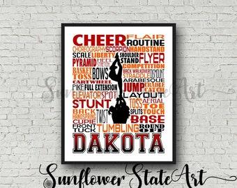 Cheer Team Gift, Cheerleader Typography Cheer Poster, Personalized Cheerleader Art, Competitive Cheer, Gift for Cheerleaders, Summit Cheer