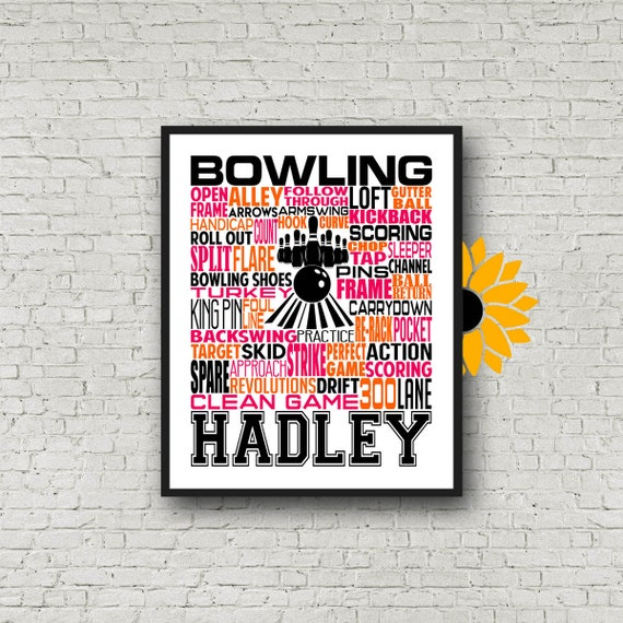 Bowler Typography, Personalized Bowling Poster, Bowler Art, Bowling Print, Bowler Gift, Bowling Art, Bowling Team Gift, Gift for Bowler