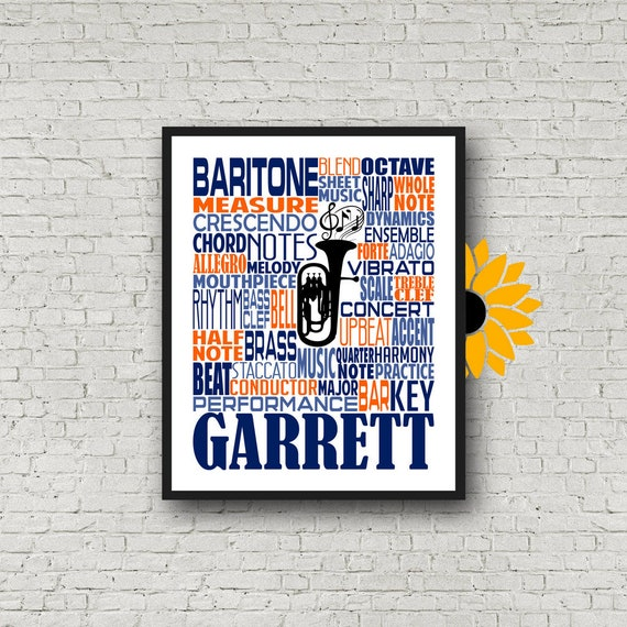Baritone Typography, Personalized Baritone Poster, Baritone Player Gift, Baritone Gift, Custom Baritone, Band Gift, Marching Band