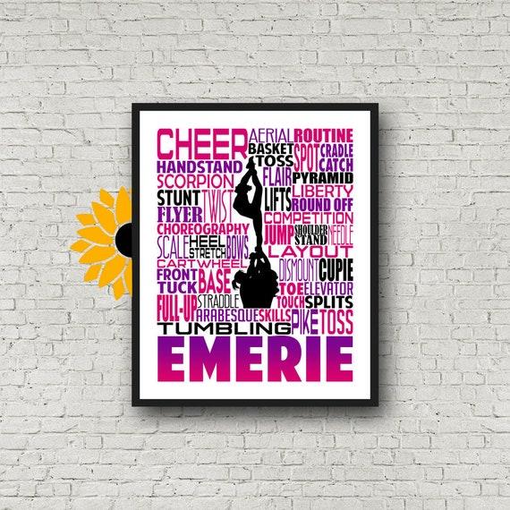 Cheerleading Print, Personalized Cheerleader Art, Cheerleading Typography, Cheerleading Gift, Cheer Team Gift, Cheerleading Poster