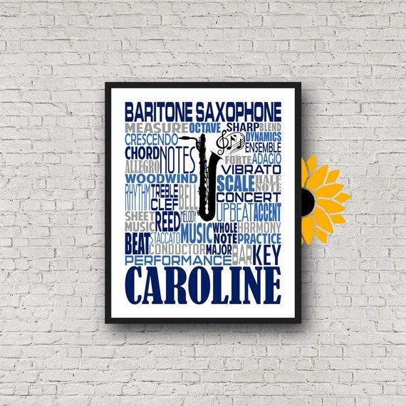 Baritone Saxophone, Saxophone Typography, Saxophone Poster, Tenor Sax, Alto Sax, Tenor Saxophone, Band Class Gift, Tenor Saxophone