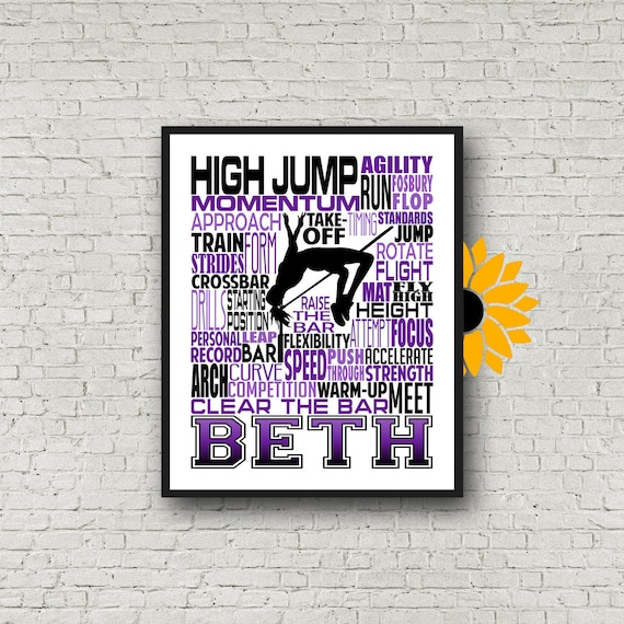 High Jump Typography, Personalized High Jump Poster, Gift for High Jumper, Track and Field gift, Track Team gift, High Jump Gift