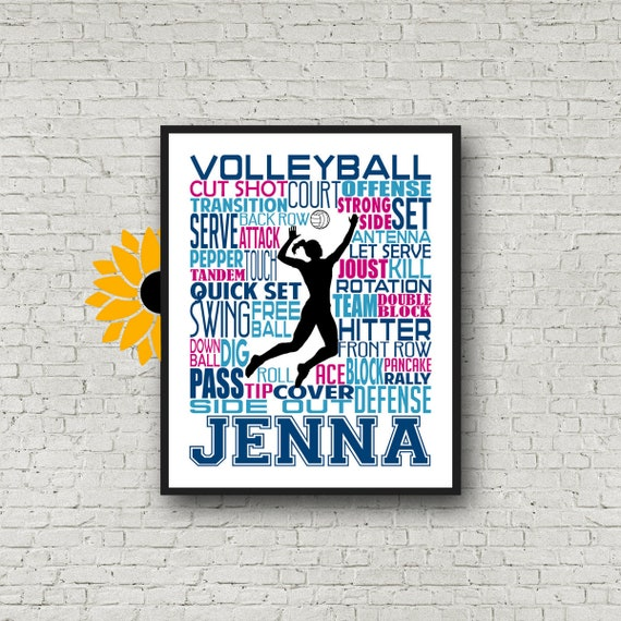 Volleyball Player Gift, Volleyball Word Art, Volleyball Team Gift, Volleyball Poster, Personalized Volleyball Poster, Girls Volleyball Gift