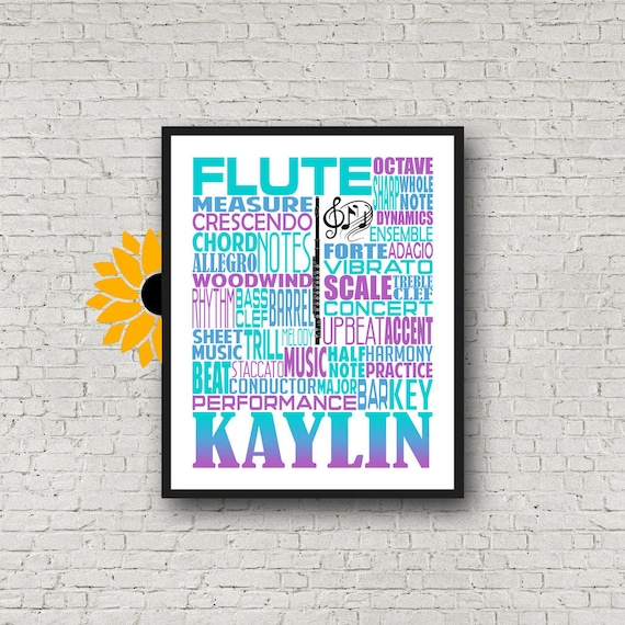 Personalized Flute Poster, Flute Typography, Flute Player Gift, Flute Art, Marching Band, Gift for Flute Player, School Band Gift