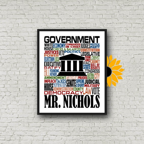 U.S. Government Typography, Personalized Government Teacher Poster, Government Teacher Gift, Gift for Government Teacher, History Teacher