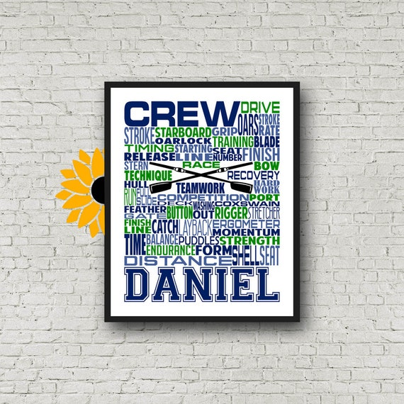 Personalized Crew Poster, Crew Rowing Gift Ideas, Crew Gift, Rowing Team Gift, Crew Team Gift Boxing Art, Crew Typography, Rowing Typography