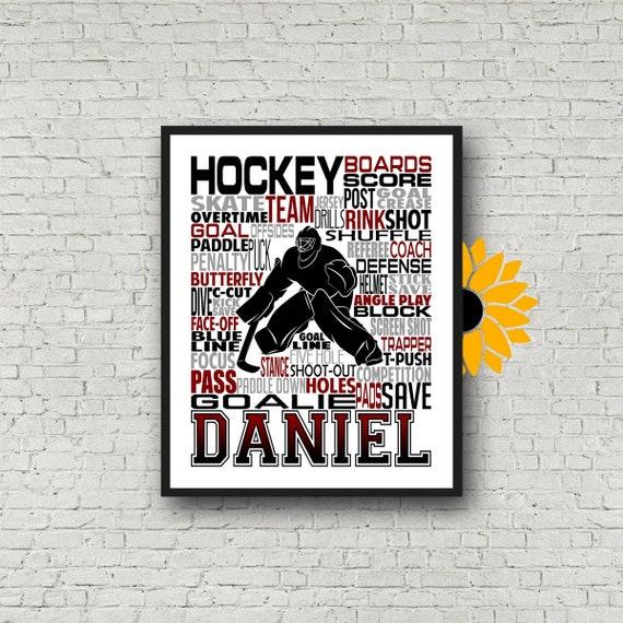 Ice Hockey Goalie Gift, Personalized Goalkeeper Ice Hockey Poster, Goalie Typography Hockey Player Gift, Hockey Team Gift, Hockey Art