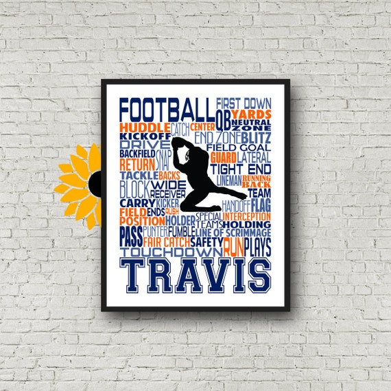 Gift for Football Player, Personalized Custom, Football Art, Football Poster, Football Team Gift, Wide Receiver, Running Back Football