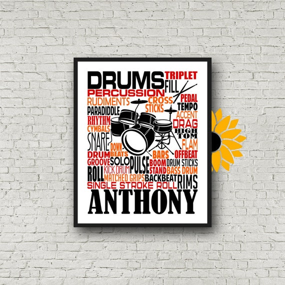 Personalized Drummer Poster, Drummer Typography, Gift for Drummers, Percussion Art, Percussion Print, School Band Gift, Marching Band