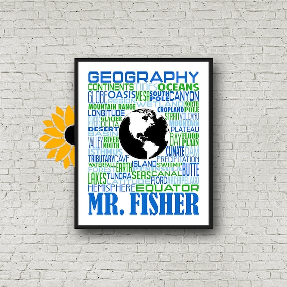 Geography Teacher Gift, Geography Typography, Personalized Geography Teacher Poster, Gift for Geography Teacher, Geography Poster