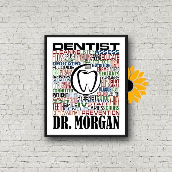 Gift for Dentist, Personalized Dentist Poster, Dentist Typography, Dentist Gift, DDS Gift, Dentist Typography, Gift for Dentist