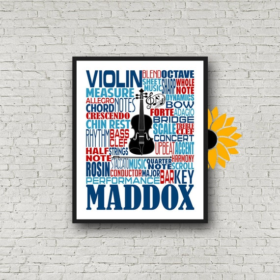 Violinist Gift, Personalized Violin Poster, Violinist Typography, Violin Print, Violin Art, Violinist Gift, Custom Violin, Band Gift