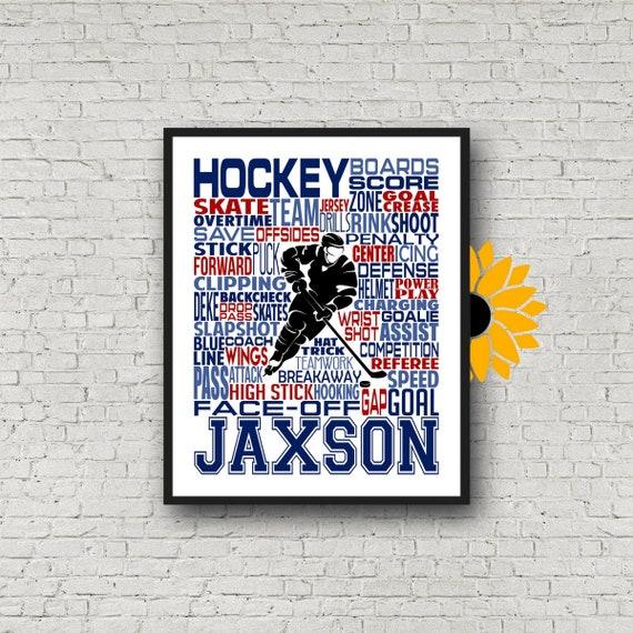 Ice Hockey Typography, Hockey Player Gift, Gift for Hockey, Hockey Team Gift, Hockey Art, Hockey Print, Hockey Wall Art
